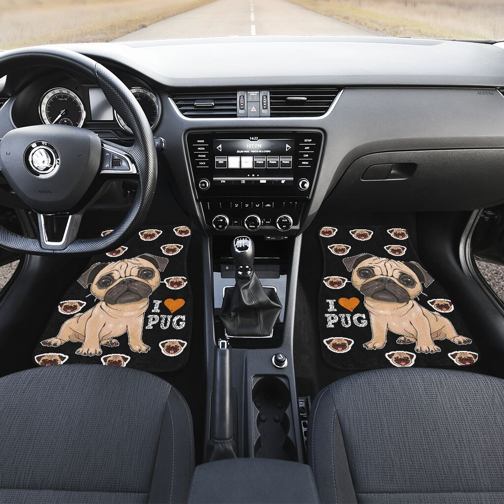 Pug Cartoon - Car Floor Mats