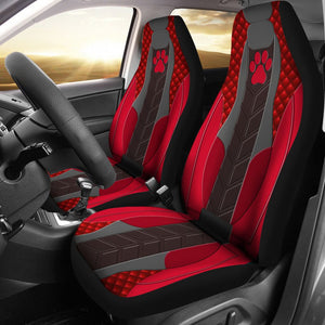 Open image in slideshow, Dog Paw Leather Red - Car Seat Car Seat Covers