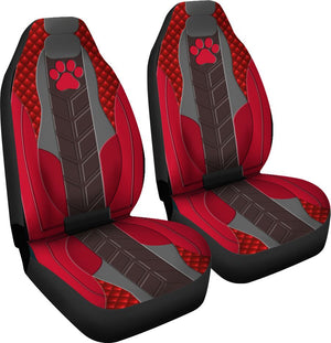 Dog Paw Leather Red - Car Seat Car Seat Covers