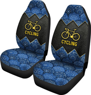 Cycling Mandala And Leather - Car Seat Car Seat Covers
