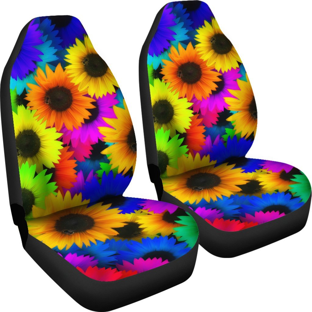 Colorful Sunflower Print Pattern Universal Fit Car Seat Cover