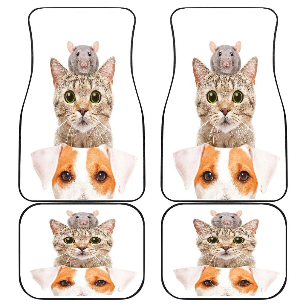 Cat Dog Mice Funny in white theme Car Floor Mats