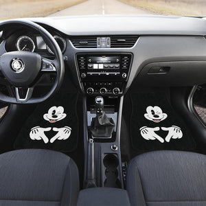 Mice Love Hand Sign Black & White Mickey Mouse Car Floor Mats
