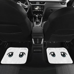 Funny Anime Eyes in White theme Car Floor Mats
