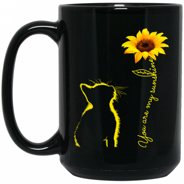 Cat You Are My Sunshine Sunflower Mugs