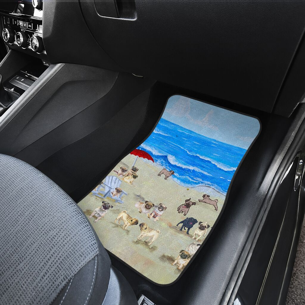 Pug In Beach - Car Floor Mats