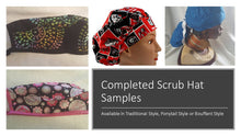 Load image into Gallery viewer, Comic Heroes Action Scrub Cap, Handmade, 100% Cotton, Breathable, Traditional, Bouffant or Ponytail