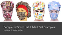 Load image into Gallery viewer, Be Kind. Scrub Cap, Handmade, 100% Cotton, Breathable, Traditional, Bouffant or Ponytail
