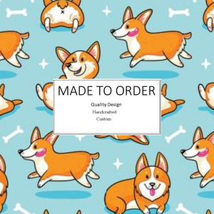 Happy Corgi Scrub Cap, Handmade, 100% Cotton, Breathable, Traditional, Bouffant or Ponytail