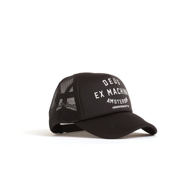 Amsterdam Address Trucker Hat - Black