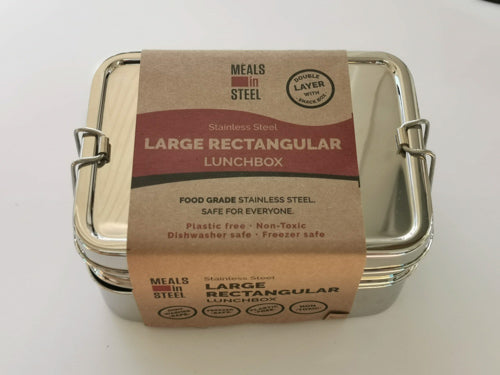 Meals in Steel twin layer large rectangular lunchbox (with snackbox)