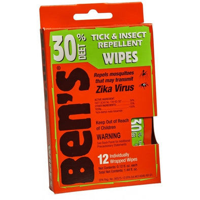 Tendercorp Ben's® 30 Tick & Insect Repellent Wipes 12/box