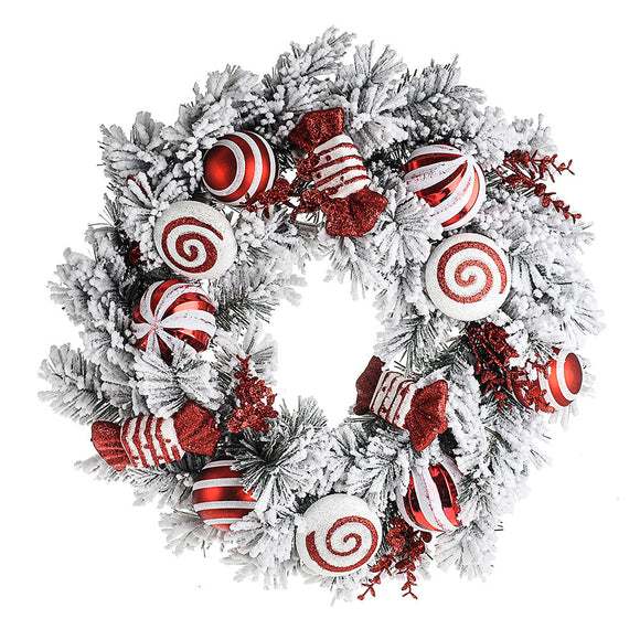 Candy Cane Snow Wreath 61 cm