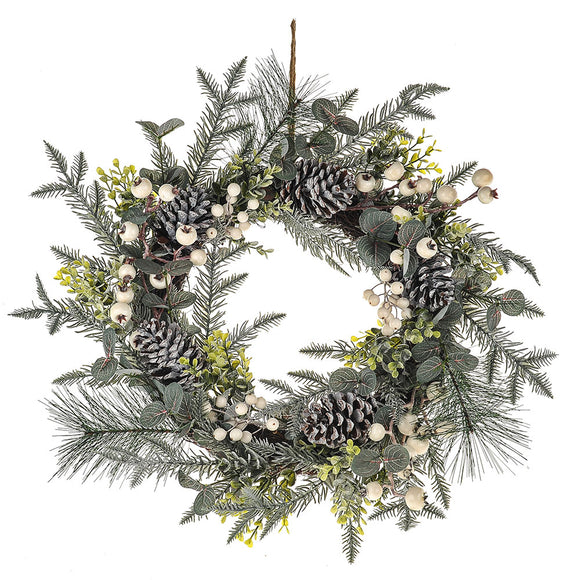 Wreath White Berry 51cm
