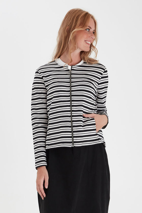 Fransa Stripe Knit Cardigan