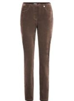 Robell Bella Full Length Corduroy Trousers- Brown