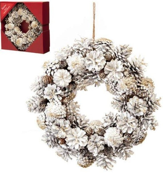 30cm White and Gold Pinecone Wreath