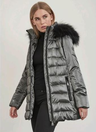 Frandsen Metallic Grey Jacket with Detachable Fur Trim Hood