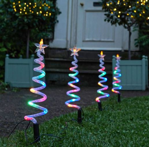 Multi Colour Outdoor Spiral Trees Lights, 4 Pack