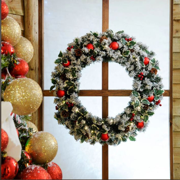 80cm Frosted Holly Wreath with Lights