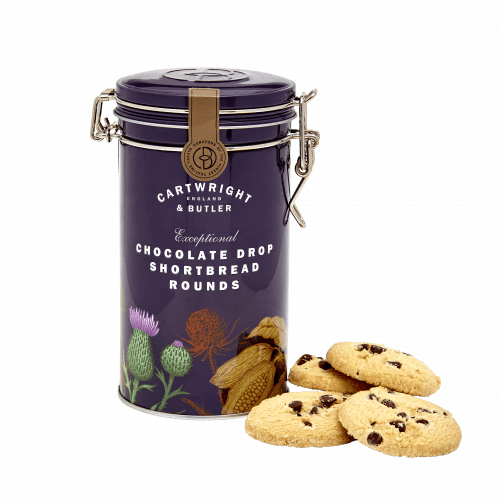 Cartwright & Butler Chocolate Drop Shortbread Rounds Tin 200g