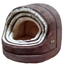 NORDIC HOODED BED BROWN - Select Size