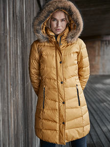 Frandsen Mustard Jacket with Detachable Fur Trim Hood
