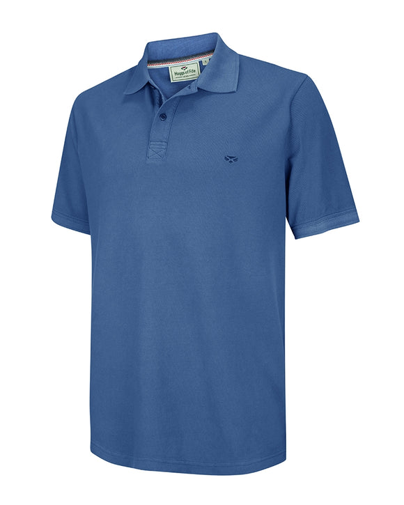 Hoggs of Fife Mens Anstruther Washed Polo Shirt Cobalt Blue