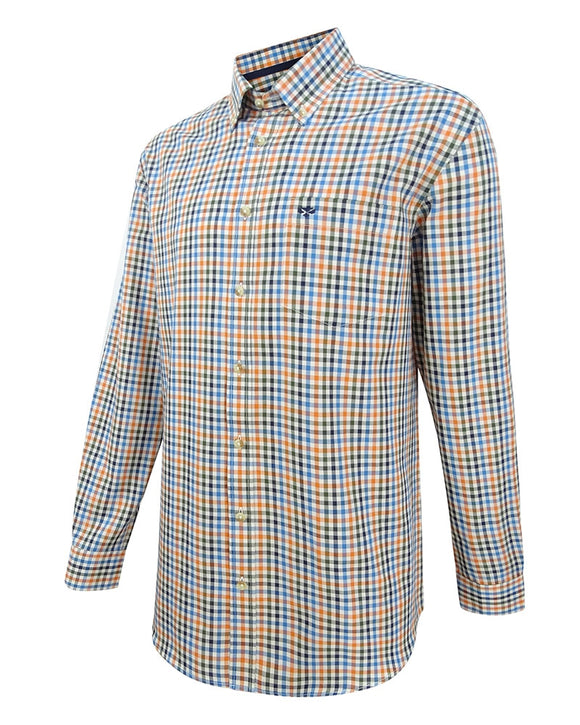 Hoggs of Fife Mens Dundas Oxford Checked Shirt Rust