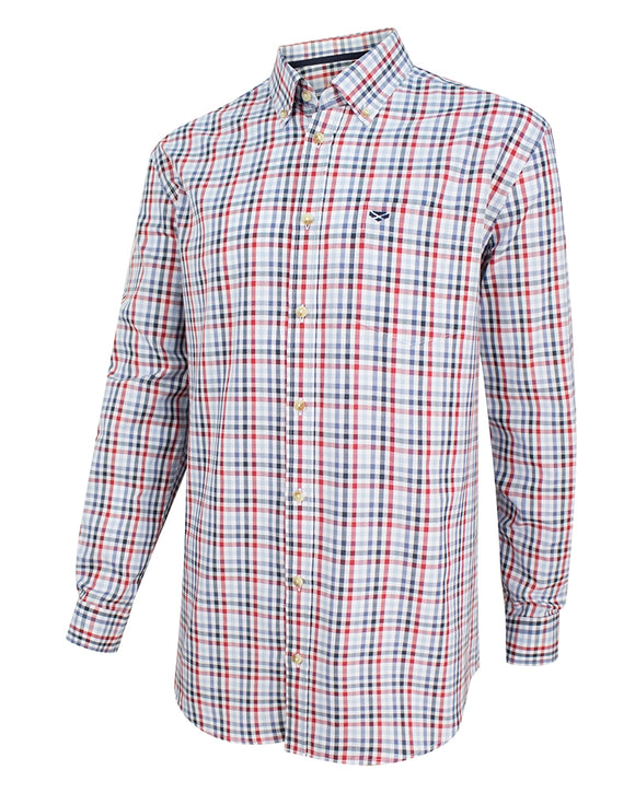 Hoggs of Fife Mens Dundas Oxford Checked Shirt Red/Blue