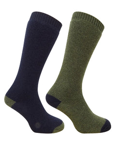 Hoggs of Fife Mens Country Long Socks (twin Pack) Green/Navy