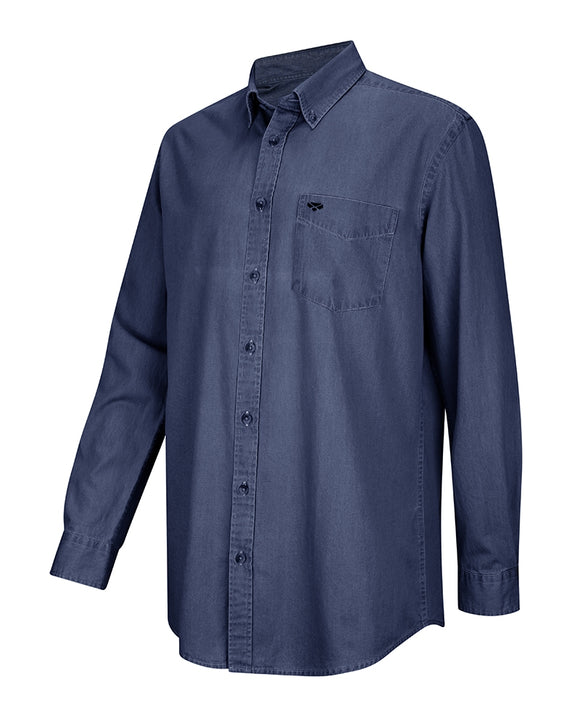 Hoggs of Fife Mens Archerfield Denim Shirt Dark Wash