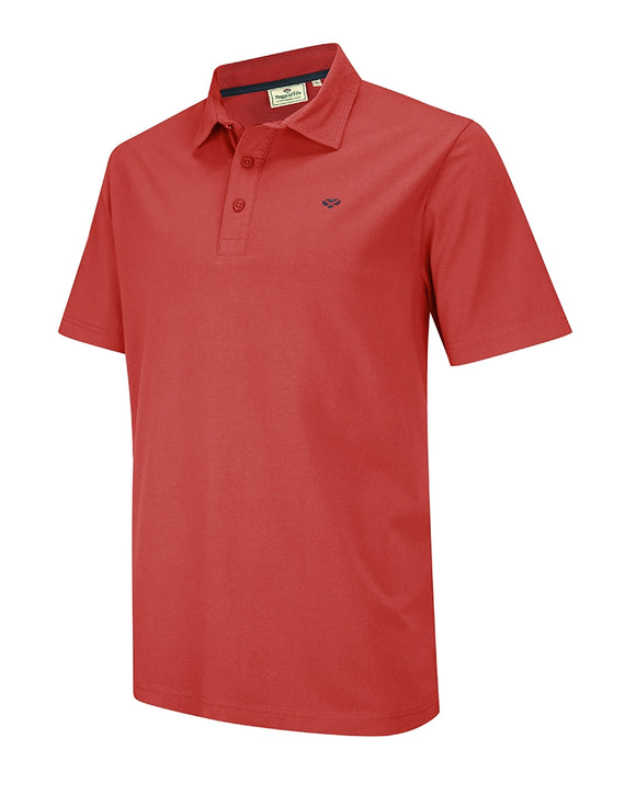Hoggs of Fife Mens Crail Jersey Poloshirt Garnet Red