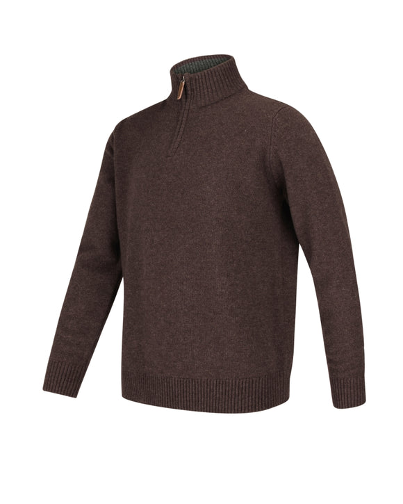 Hoggs of Fife Mens Lothian 1/4 Zip Neck Pullover Redwood