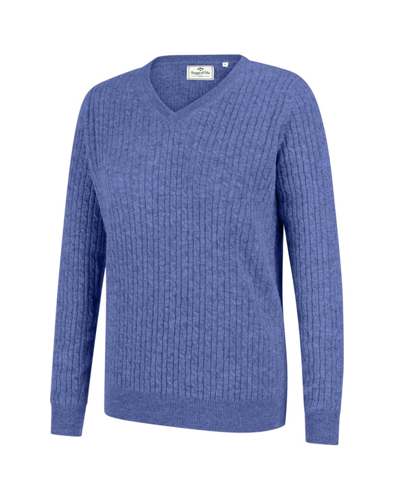 Hoggs of Fife Ladies Lauder Cable Pullover Violet