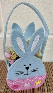 Felt Bunny Basket with Bag of Sweets- Select Colour
