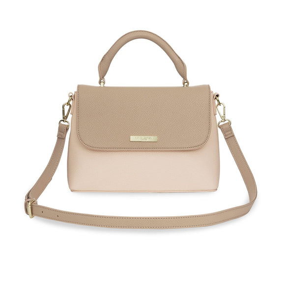 Katie Loxton Talia Two Tone Messenger Bag Taupe & Nude Pink