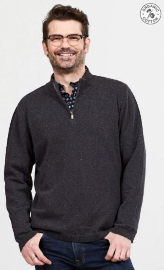 Men's Organic Cotton Half Zip Jumper