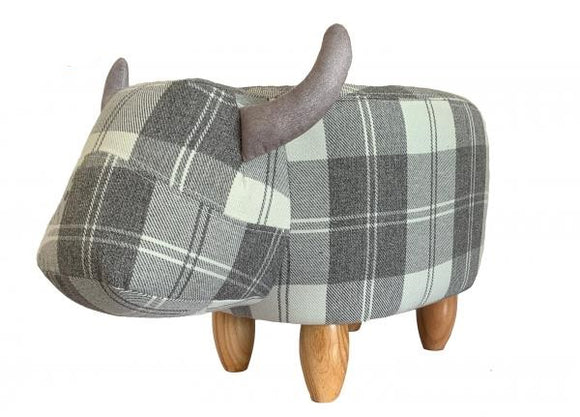 Maisie the Grey Tartan Cow Footstool
