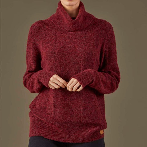 Rustic Womens Cable Knit Jumper- Wine