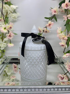 White Geo Jar Candle - Snowfairy Fragrance