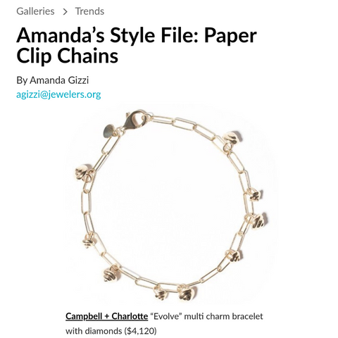 National Jeweler Amanda's Style File Paper Clip Chains Campbell + Charlotte Jewelry Bracelet