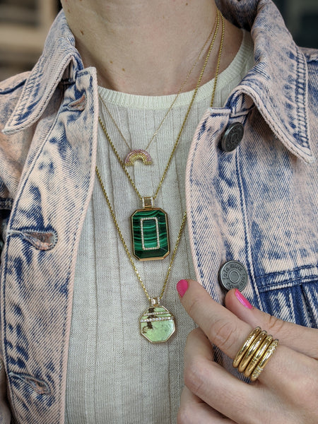 Found Octagon Pendant Necklace - Chrysoprase