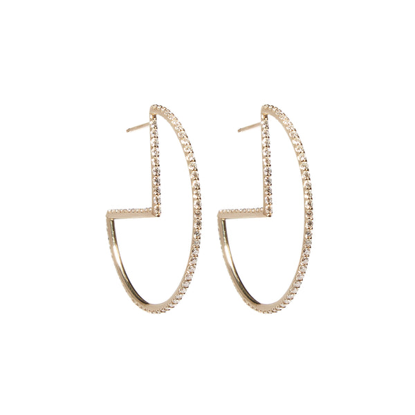 Found Geometric Hoop Earrings - Diamond