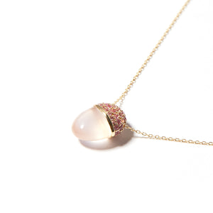 Found Cap Pendant Necklace - Pink Sapphires & Rose Quartz