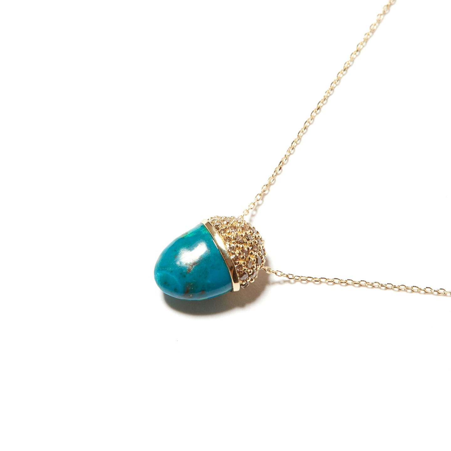 Found Cap Pendant Necklace - Chrysocolla & Brown Diamond