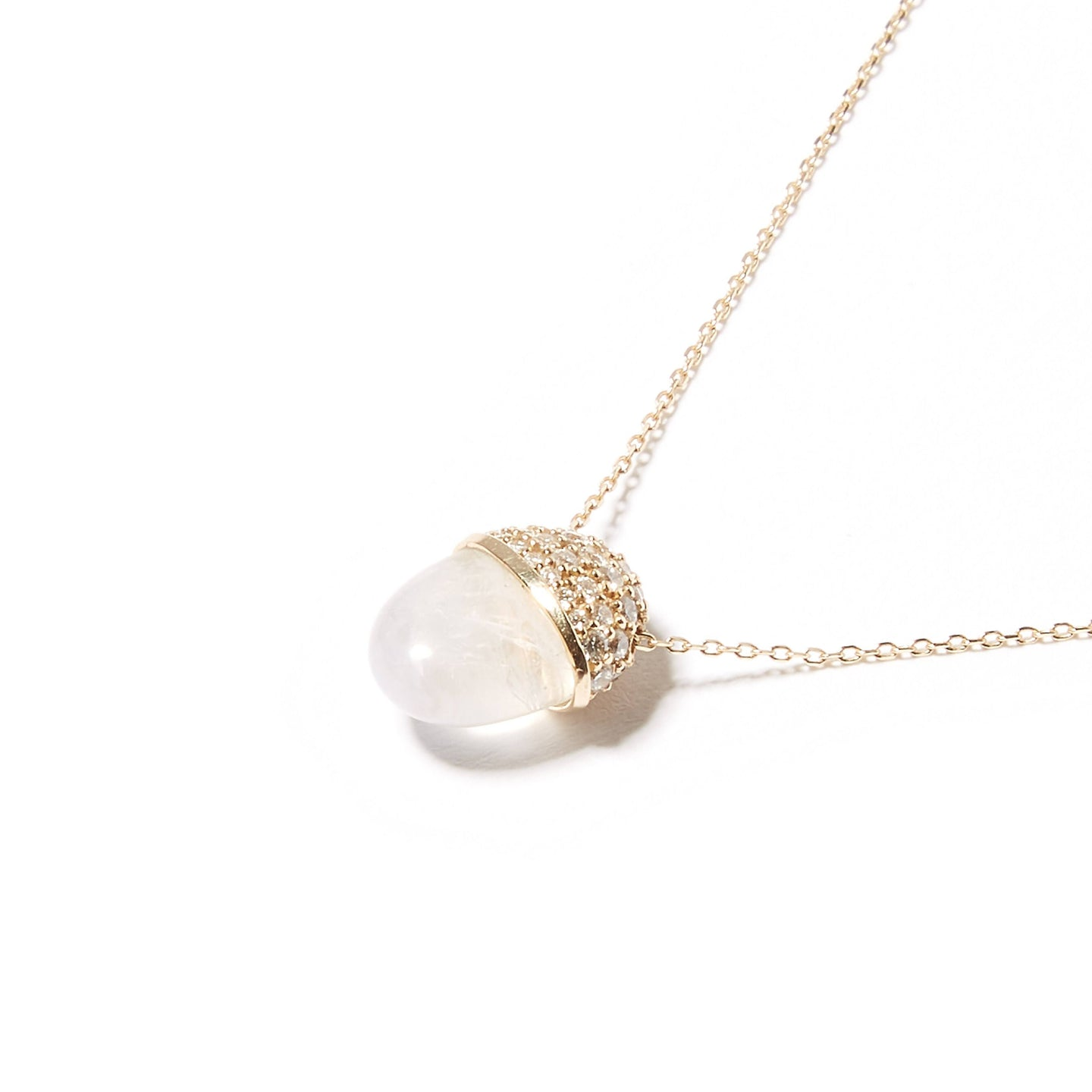 Found Cap Pendant Necklace - Moonstone