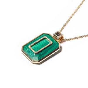 Found Emerald Cut Pendant Necklace - Malachite