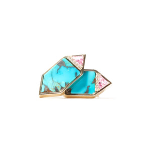 Found Hexagon Stud Earrings - Turquoise, Pink Sapphire & Diamond