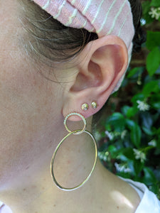 The Crew Half Moon Double Hoop Earrings - Diamond